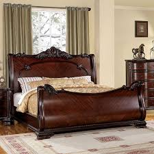 King Sleigh Bedroom Sets by Shop Furniture Of America Bellefonte Brown Cherry King Sleigh Bed