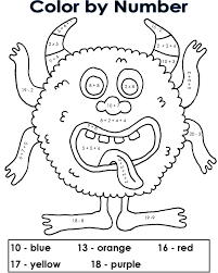 coloring pages our own color by number monster puzzles free