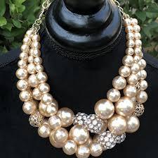 chunky pearl statement necklace images Pearl cream statement bib style choker necklace set bib necklace jpeg
