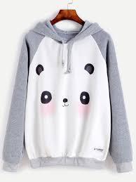 panda sweater contrast panda print raglan sleeve hooded sweatshirtfor