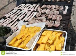 Outdoor Barbecue Huge Outdoor Barbecue Grill With Pork Sausage And Beacon Royalty