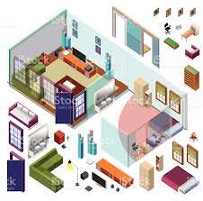 isometric home planning 3d vector creation kit stock vector art