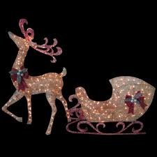 indoor outdoor gold lighted santa sleigh reindeer deer yard