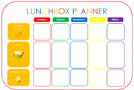 lunch box planner template work lunch planner