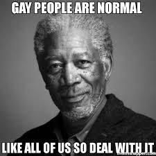 gay people are normal like all of us so deal with it meme morgan