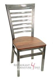 Reclaimed Wood Chairs Gladiator Industrial Clear Coat Ladder Back Restaurant Chair W