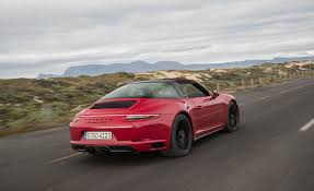 red porsche 911 2017 porsche 911 targa 4 gts red test drive side and rear view