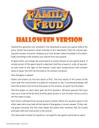 halloween party rhymes halloween family feud printable game halloween party game