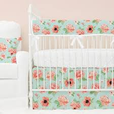 Pink And Green Crib Bedding Colette S Coral Floral Bumperless Baby Bedding Caden