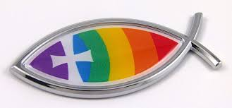 religious chrome emblems christian rainbow jesus fish 3d auto emblem