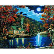 plaid paint by number 16 in x 20 in 22 color kit lakeside cabin
