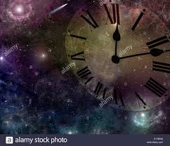 deep space background with transparent clock face stock photo