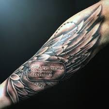 forearm dog tags tattoos for men with angel wings kerky