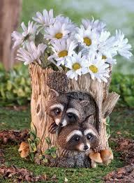 peeking raccoon flower pot garden statue planter outdoor yard decor