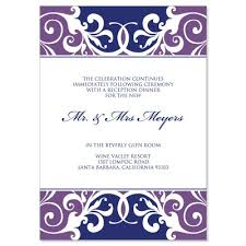 wedding reception invitation templates wedding reception invitations templates purple blue reception card