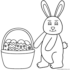 easter bunny and basket of easter eggs coloring page easter