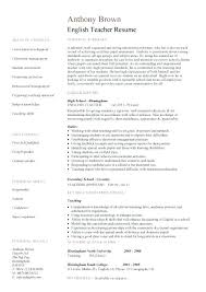 sample resume english teacher teacher resume templates free sample