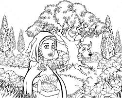 fairytale red riding hood coloring scene krisdog