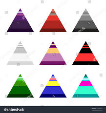 set nine triangles divided into parts stock vector 337238978