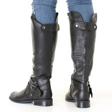 womens flat biker boots womens black leather look low heel riding biker flat ladies knee
