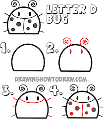 how to draw a cartoon bug from the letter d shape drawing for