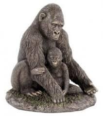 gorilla and baby bronze figurine