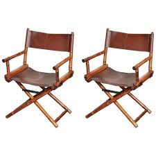 Folding Wicker Chairs Pair Of Bamboo And Leather Directors Chairs Circa 1960 Rattan
