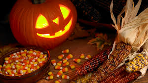 halloween background leaves photo of jack o latern pumpkin indian corn candy corn and fall