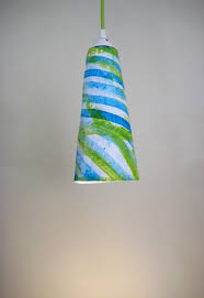 Plug In Hanging Lights by Eco Friendly Paper Mache Cone Green Splash Plug In Pendant Light