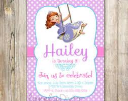 sofia the birthday invitation etsy