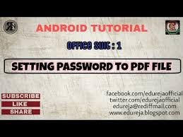 tutorial android pdf setting password to pdf file with an android device android