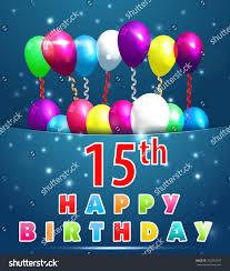 15 year happy birthday card balloons stock vector 202592347