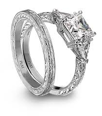 Engagement Ring And Wedding Band by Cut Platinm And Diamond Engagement Ring And Engraved Wedding Band