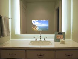 tv in the mirror bathroom séura illuminated television mirror contemporary bathroom