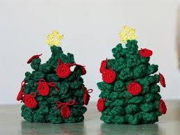 attractive crocheted tree ornaments