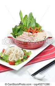 cuisine pho food set pho white noodles with pork soup pictures