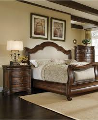 Top Quality Bedroom Sets Soft Brown Damask Macys Bed Speads With Teak Wooden Varnished