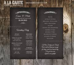 ceremony cards wedding ceremony cards wedding program chalk by alacartestudio