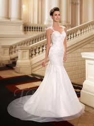wedding dress sheer straps lace sheer back mermaid wedding dress tbdress com
