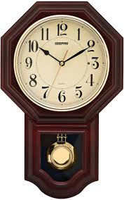 wall watch geepas gwc4810 pendulum wall clock brown price review and buy in