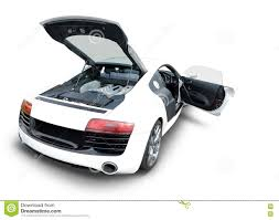 audi sports car audi r8 sports car with open engine and door stock photo image