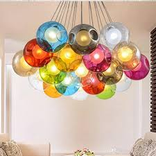 Entry Chandelier Lighting Colorful Glass Ball G4 Led Chandelier Lamp 3 31heads Of Glass