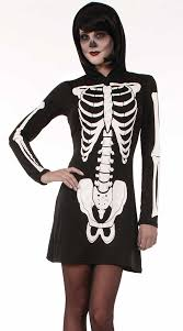 Halloween Costume Skeleton Hooded Skeleton Costume Womens Skeleton Costume Dresses Parties