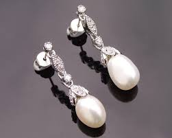 wedding earrings drop encrusted freshwater pearl drop earrings beverly jules