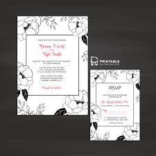 free printable pdf invitation and rsvp black and white floral
