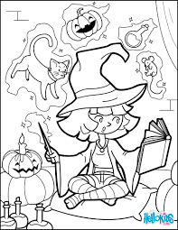 little halloween witch practises magic coloring pages hellokids com