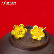 anting emas 24 karat xuping gold 24 karat women s design flowers stud earrings
