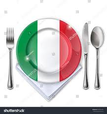 plate italian flag empty plate spoon stock vector 622463132