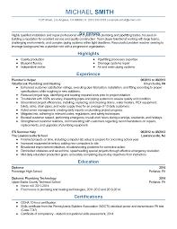 Construction Site Supervisor Resume Sample by Plumbing Supervisor Resume Sample Resume For Your Job Application