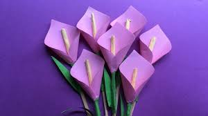 Purple Lily Flower How To Make A Beautiful Calla Lily Paper Flower Origami Lily